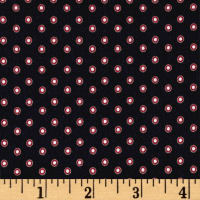 French Polka Dot Print Viscose Crepe Red
