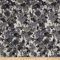 French Reversible Tropical Floral Jacquard Blue/Black/White