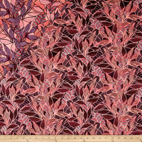 French Tropical Leaf Reversible Jacquard Neon Coral/Violet