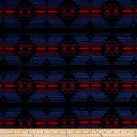 French Aztec Inspired Jacquard Blue/Red/Green/Black