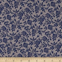 Rayon Challis Traditional Floral Mauve/Blue