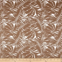 Tropical Leaves Sateen White/Taupe
