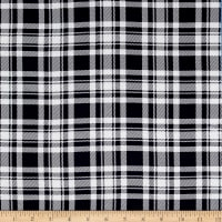Rayon Challis Plaid Midnight Blue/White
