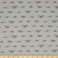 Riley Blake Airplanes Silhouette Jersey Knit Gray