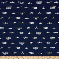 Riley Blake Airplanes Silhouette Jersey Knit Navy