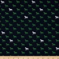 Riley Blake Derby Day Horses In Jersey Knit Navy