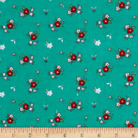 Riley Blake A Little Sweetness Little Floral Flannel Aqua