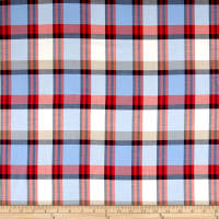Plaid Yarn-Dyed Lawn Powder Blue/Cream/Red
