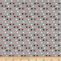 Stof Avalana Jersey Knit Hearts Grey/Multi