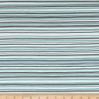 Stof Avalana Jersey Knit Stripe Black/Aqua/Blue