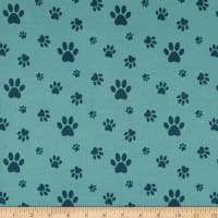 Stof Avalana Jersey Knit Paw Prints Blue