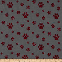 Stof Avalana Jersey Knit Paw Prints Grey/Red