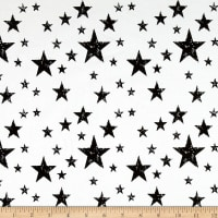 Stof Avalana Jersey Knit Varied Stars Black/White