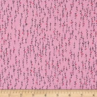 Stof Avalana Jersey Knit Small Viney Flower Buds Pink