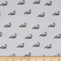 Stof Avalana Jersey Knit Flamingos Grey