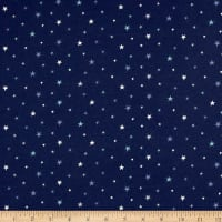 Stof Avalana Jersey Knit Varied Stars White/Blue