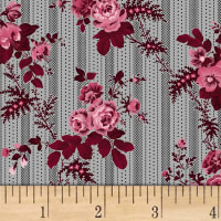 Rouge et Noir Floral Stripe Light Gray