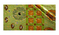 Supreme Osikani African Print 6 Yards Orange/Green/Gold Foil