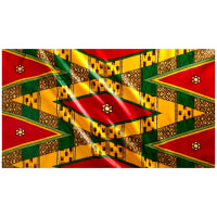 Supreme Bazin African Print 6 Yards Red/Yellow/Green