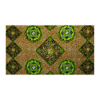 Supreme African Wax Print 6 Yards Green/Tan/Indigo