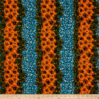 Supreme African Wax Print 6 Yards Orange/Green/Blue
