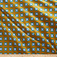 Supreme Fancy African Print 6 Yards Tan/Blue/Green