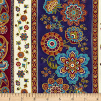"Timeless Treasures Fortuna Metallic 11"" Medallion Paisley Stripe Multi"