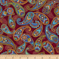 Timeless Treasures Fortuna Metallic Allover Paisley Cranberry