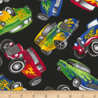 Timeless Treasures Hot Rods Black