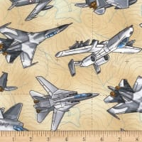 Timeless Treasures Fighter Planes Tan