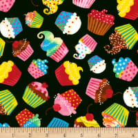 Timeless Treasures Birthday Party Cupcakes Black