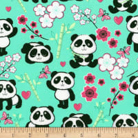 Timeless Treasures Pandas & Flowers Aqua