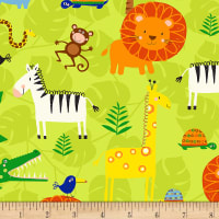 Timeless Treasures Jungle Jam Safari Animals Green