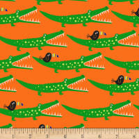Timeless Treasures Jungle Jam Alligators Orange
