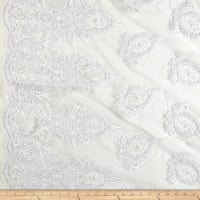 Bridal Corded Sequin Lace Netting White