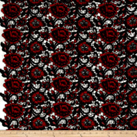 Floral Guipure Lace Red/Black