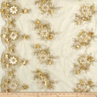 Applique Floral Mesh Embroidery Champagne