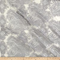 Medallion Sequin Lace Damask Silver Metallic