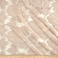 Medallion Sequin Lace Damask Champagne Metallic
