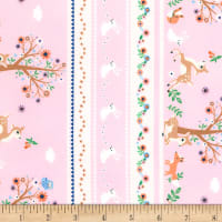 Timeless Treasures Storybook Forest Bunny/Deer/Flower Stripe Pink