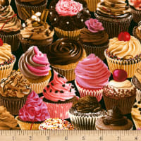 Timeless Treasures Sugar Rush Cupcakes Black