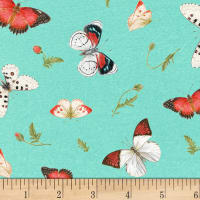 Poppy Perfection Tossed Butterflies Aqua