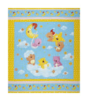 "Wish Upon A Star Flannel 36"" Bear & Star Panel Yellow/Turq"