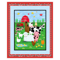 "Farm Life 36"" Farm Scene Panel Multi/Blue"