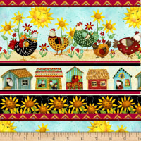 All Cooped Up Sunflower & Chickens Stripe Multi