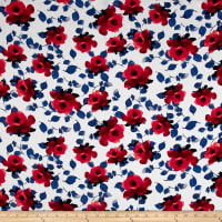 Rayon Challis Watercolor Garden White/Navy/Red