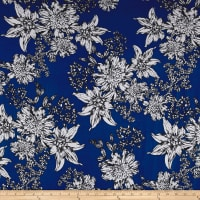 Double Brushed Poly Spandex Jersey Knit Flower Doodles Royal/Gray