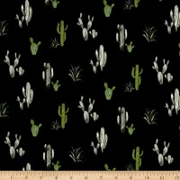 Fabric Merchants Double Brushed Poly Spandex Jersey Knit Cacti Black/Green