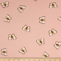 Double Brushed Poly Spandex Jersey Knit Butterflies Peach