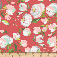 Art Gallery Wild Bloom Jersey Knit Everlasting Blooms Berry Dark Coral